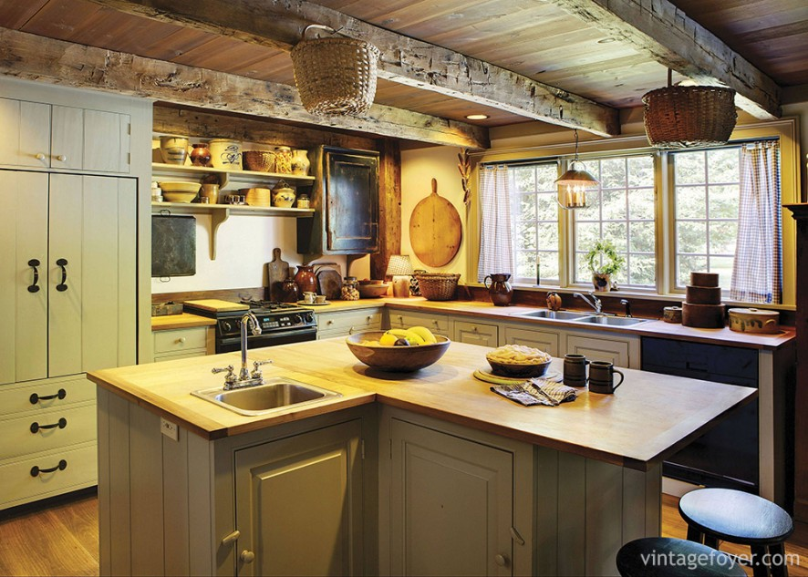 Certain to cause a stir, try using exposed beams to bring character to a small kitchen, coupled with large windows, and wall-mounted shelves for extra storage.