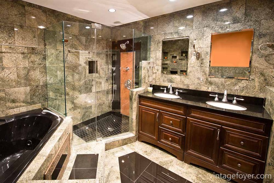 Glass shower, bold, black bathtub, and exquisite floor-to-ceiling tiles