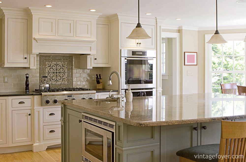 White Kitchen Cabinets With Contrasting Island Kitchen Cabinet Ideas