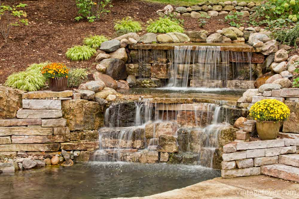 42 incredibly beautiful backyard ponds for your inspiration for Tiered pond waterfall