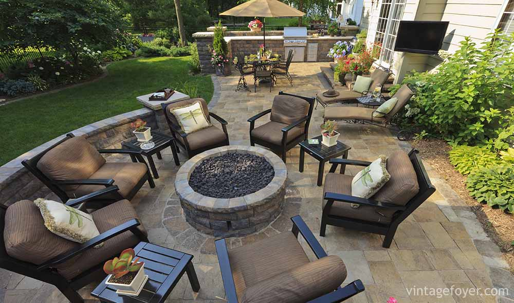 This Raised Fire Pit Provides Sophisticated Comfort For Entertaining Guests  After A Hearty Meal At The Adjacent Dining Area. The Patio Is Set In  Limestone ...