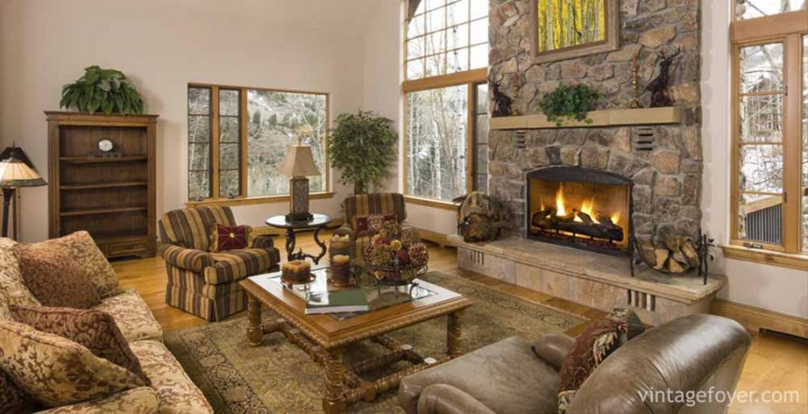 44 cozy living rooms cabins with beautiful stone fireplaces - Beautiful stone fireplaces that rock ...