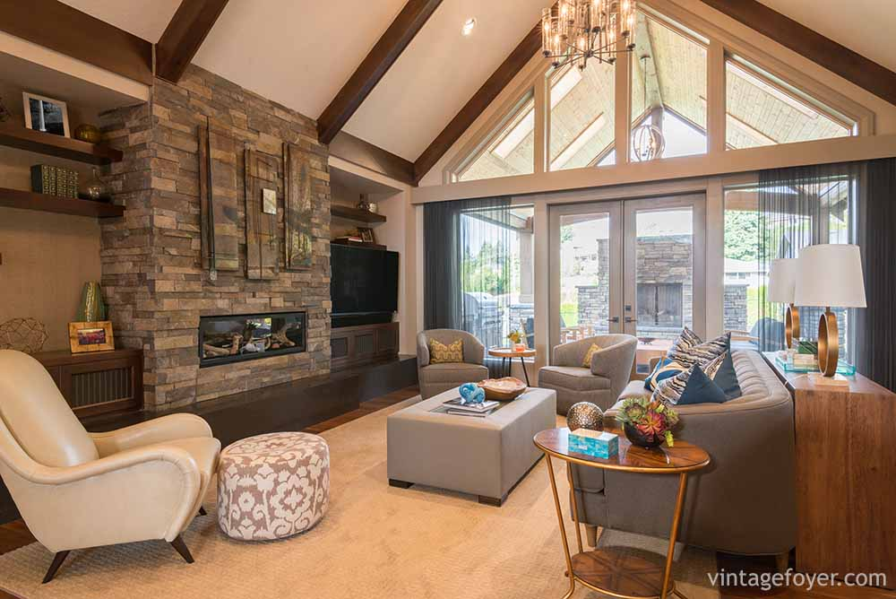 The Large Stones On The Fireplace Bring Out The Light Carpet And Wall  Colors While Helping The Transition Into The Darker Furniture. Mixing Both  Light And ...