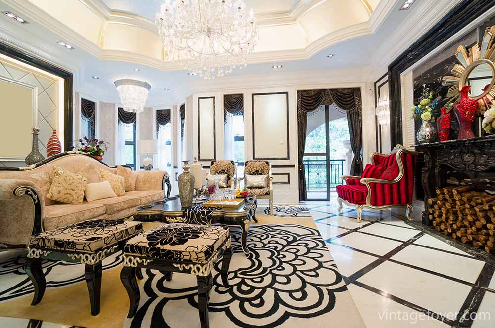 This Luxurious Living Room With Its Black And White Color Scheme And  Traditional Furnishings And Case Goods Displays So Much Vintage Design That  Makes This ...
