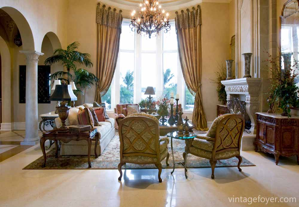 The Large Open Archways And Huge Bay Window In This Room Help Up Formal Traditional Living Has Multiple Focal Points With