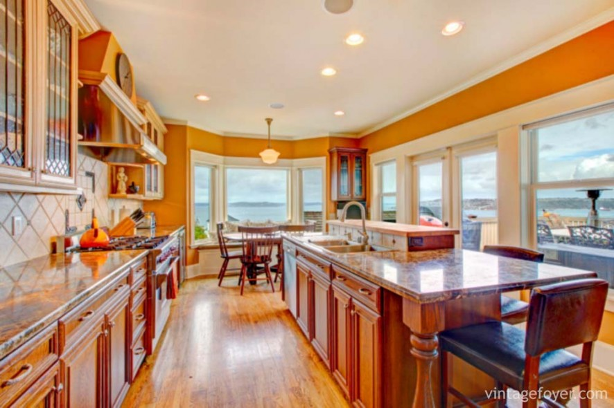 Beautiful bright kitchen room with walkout deck